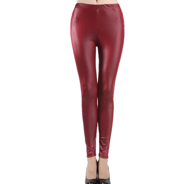 Women and Girls Imitation Leather Slim Leggings big yards Lederhosen S M L XL XXL XXXL nine points Middle waist  Pants