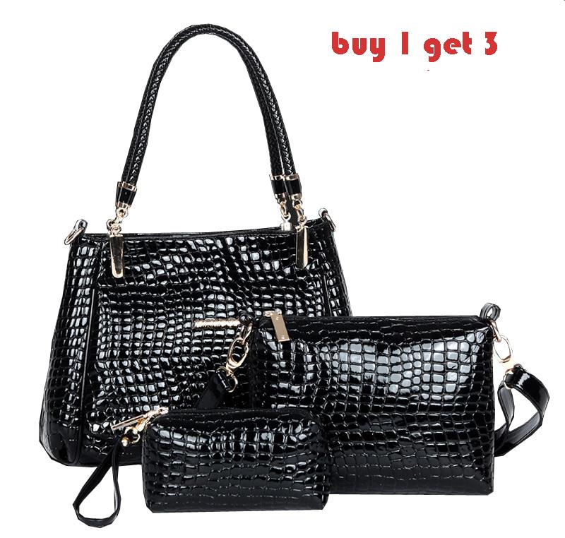 Buy 1 get 3 fashion classic crocodile women patent leather handbags,messenger bags,shoulder bags(China (Mainland))
