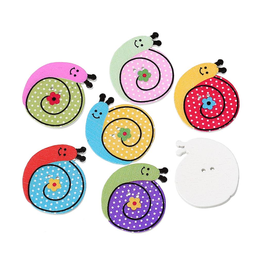 "Гаджет  Wood Sewing Button Scrapbooking Snail Mixed 2 Holes 27.0mm(1 1/8"")x 25.0mm(1""),8 PCs 2015 new None Дом и Сад"