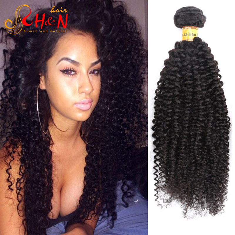 Human Hair Extensions Deep Curly Brazilian Virgin Human hair Double Weft Natural Black 4 Pieces/lot<br><br>Aliexpress
