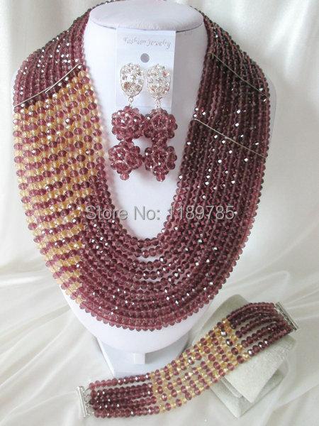 Fashion Nigerian African Wedding Beads Jewelry Set ,Crystal Necklace Bracelet Earrings Set A-4593<br><br>Aliexpress