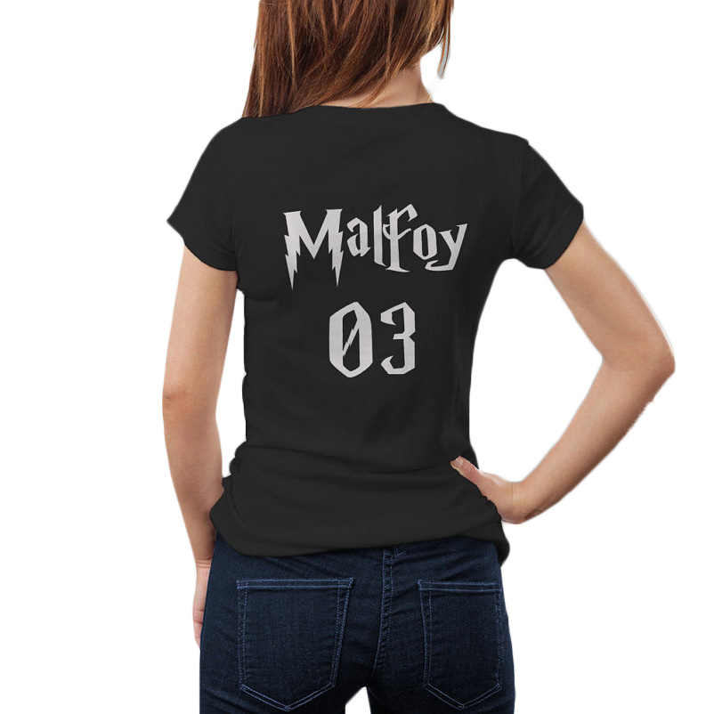 Harry Potter T Shirt Women Tops Draco Malfoy 03 Tshirt Potter head t-shirt Black White Back Graphic Casual Women Tee Shirt Femme