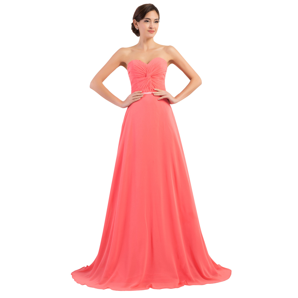 Hot Sale Sweetheart Coral Colored Bridesmaid Dresses Long