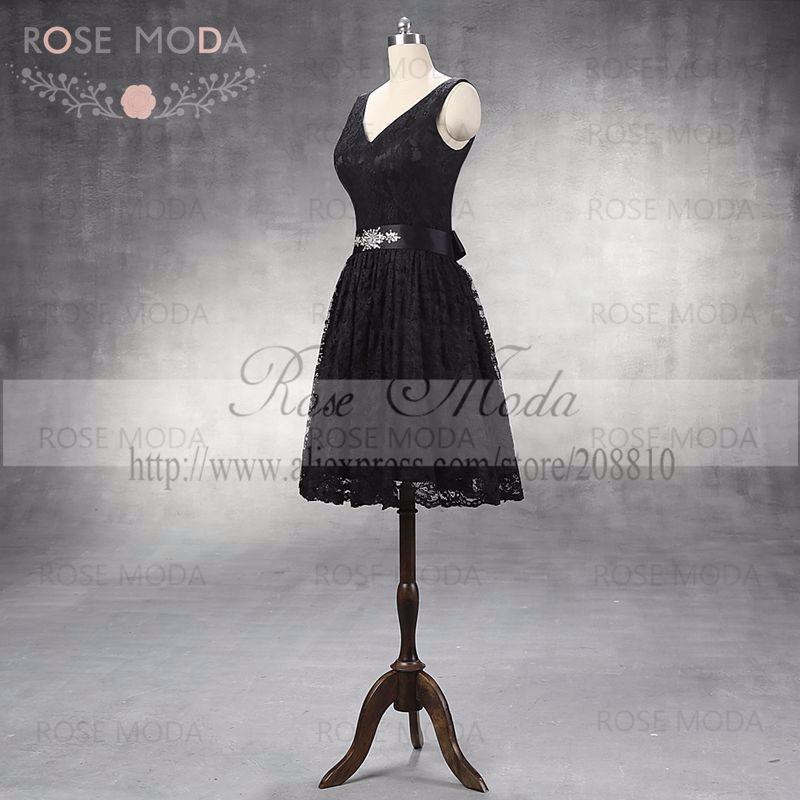 Сексуальная V шеи кружева платье возвращения домой съемная кристалл створки до колен V назад маленькое черное платье реальных фотографий