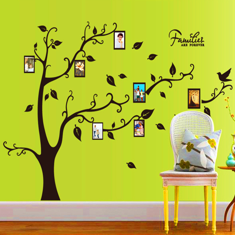 Black Tree Black Tree Leaf Memory Photo Frame Bedroom Living Room Wall Stickers Factory Outlets(China (Mainland))