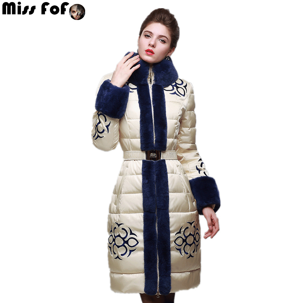 Luxury high quality down coat female long design royalcat2014 large fur collar embroidery slimОдежда и ак�е��уары<br><br><br>Aliexpress