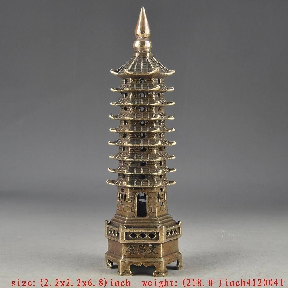 Old Exorcism Chinese Collectable Brass Handwork Hammered Tower Decor(China (Mainland))