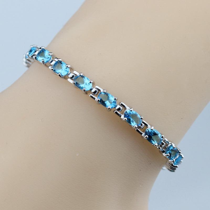 Sterling Silver Fetching Natural Blue Topaz Bracelet ...