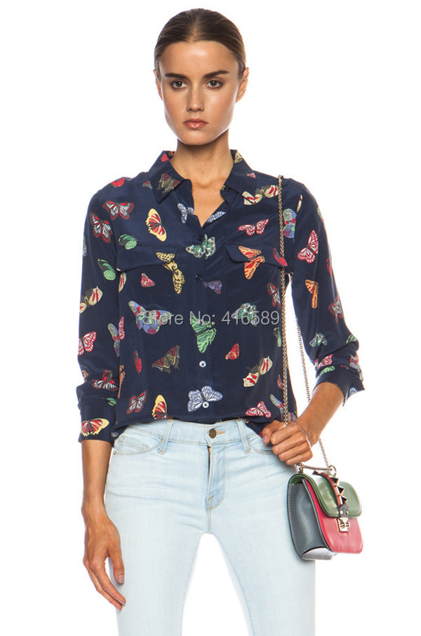 Original equipment 2015 new 100%real silk butterfly insect print women blouse EQ long sleeve spring beetle shirt(China (Mainland))