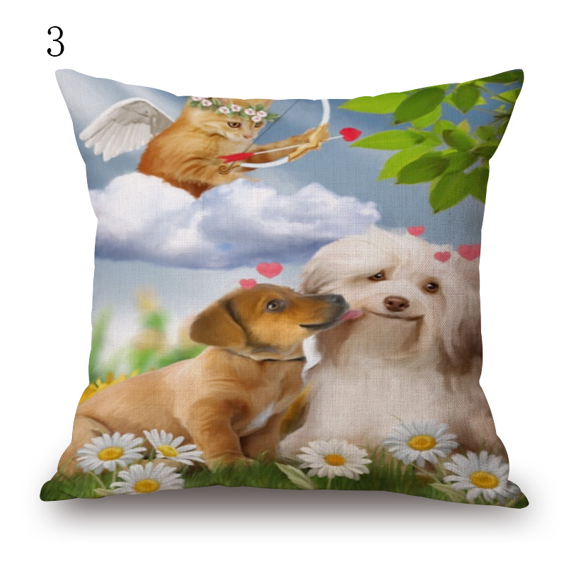 animal lovely cat dog pattern cushion cover european style decorative throw pillow covers 45x45 square linen