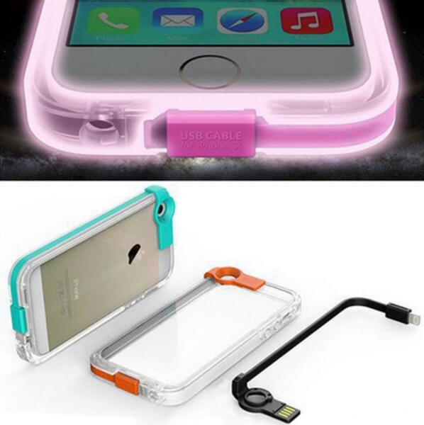 Nightglow phone clear case + rechargeable USB cable for iphone 6 iphone 6s(China (Mainland))