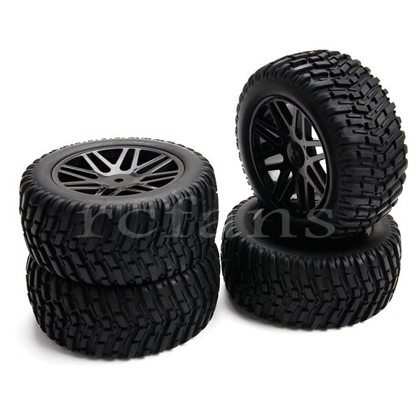 4pcs Black Wheels Rims Tires Tyres 1:10 RC Off-Road Car 37mm Wide(China (Mainland))