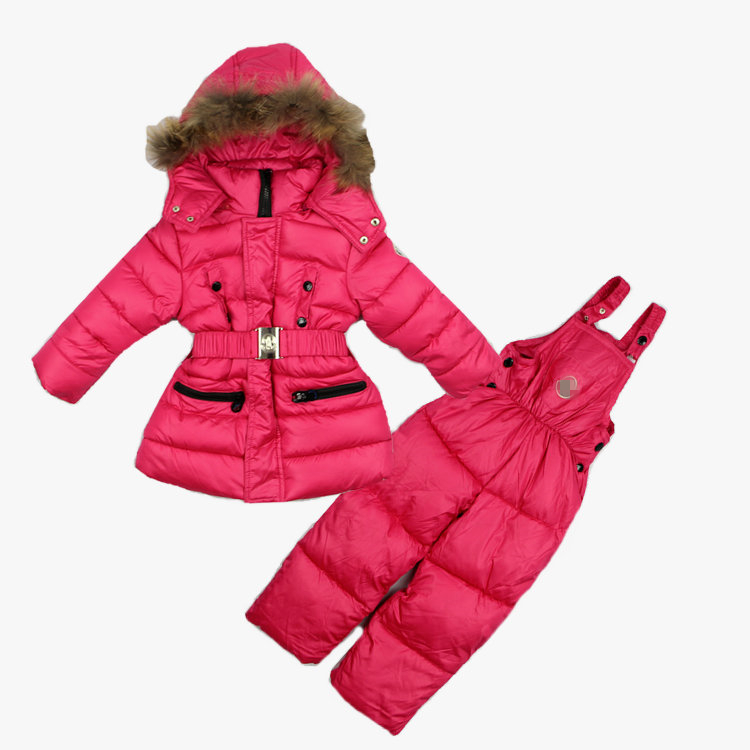 2015 New brand children girls winter clothing sets kids thick warm ski garments snowsuits fur hooded outerwear + overalls set(China (Mainland))