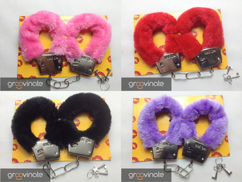Sexy Soft Furry Steel Fuzzy Fur Wrist Handcuffs Dress Valentines love Gift Toy,10pcs/lot,5 color can select,free shipping