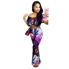 Buy Colorful Summer Crop Top Lady Slim Suit High Waist Bell-bottoms Pants Women Shoulder T Shirt Sexy Slash Neck 2 Piece Set for $12.04 in AliExpress store