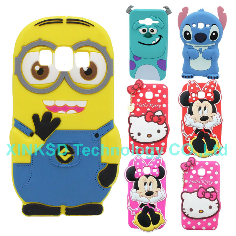 For Samsung Galaxy J2 Case Hot Selling Silicone Stitch Sully Minnie Minions Cell Phone Bags Case Cover For Samsung J2 J200 J200F(China (Mainland))