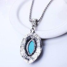 Fashion Antique Silver Necklace Ellipse Turquoise Pendants Necklace Vintage Jewlery For Women 2014 XL5628