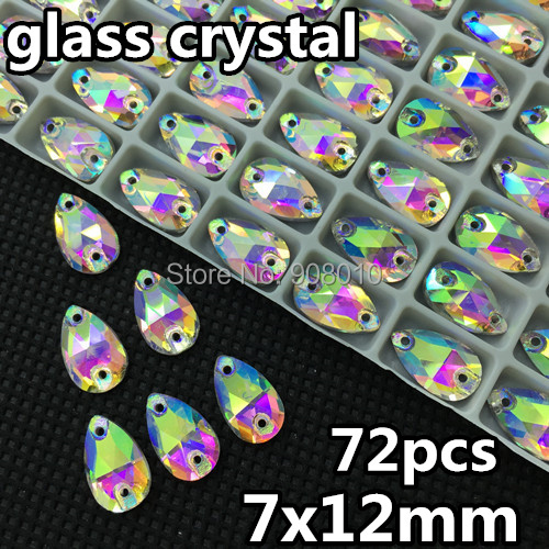 Гаджет  7x12 mm droplet Sew on rhinestones flatback Crystal AB color , 12x7mm 2 holes sew on beads free shipping None Дом и Сад