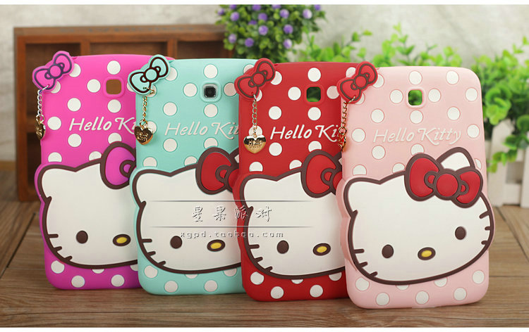 "Newest For Samsung Galaxy tab 3 7"" Tablet T210 T211 P3200 case Splashy Hello kitty cartoon case soft silicone cover(China (Mainland))"