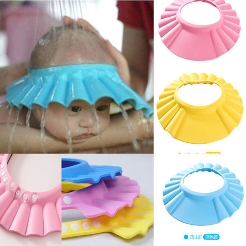 Adjustable Plastic Baby Bath Cap Kids Shampoo Bath Bathing Shower Cap Hat Wash Hair Shield Shampoo hat Baby care product(China (Mainland))