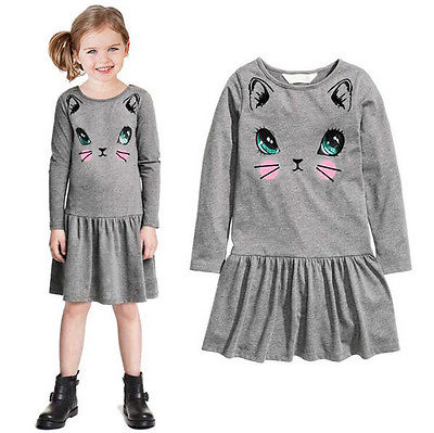 kids clothes fashion girl dress cat design baby girl clothing new