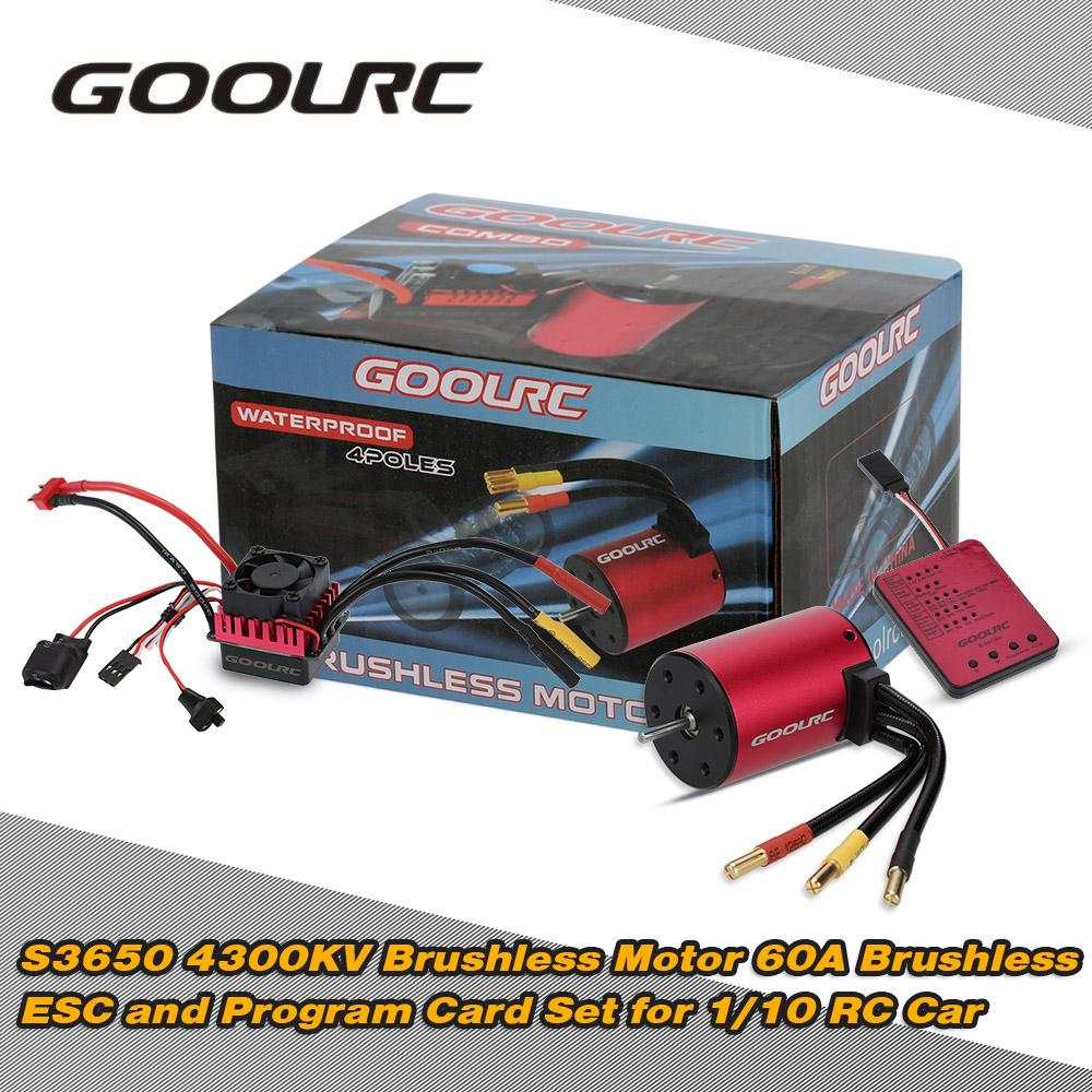 Original GoolRC S3650 4300KV Sensorless Brushless Motor 60A Brushless ESC and Program Card Combo Set for 1/10 RC Car Truck(China (Mainland))