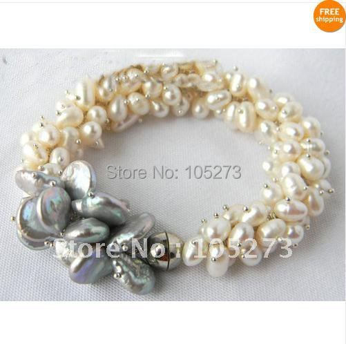 New Arrive Chirstmas Jewelry ! Stunning Natural Beautiful White Baroque Gray Coin Freshwater Pearl Bracelet 8inch Magnet Clasp<br>