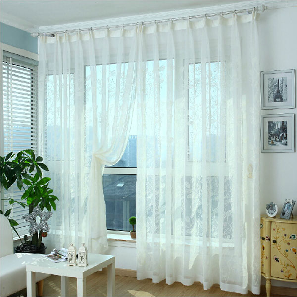 Zf curtains002 window screening tulle finished leaf cotton for Window cotton design