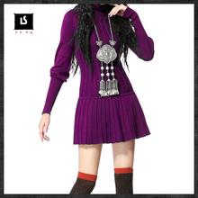 KEERQW Autumn Winter Vintage Elegant Turtleneck Lantern Sleeve Pleated Drawstring Waist Slim Thick Warm Knitting Sweater Dress