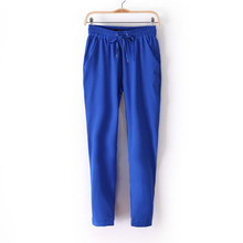 2016 New fashions Women's Pants Long Casual Harem Pants Women Pure Color Elastic Chiffon Sport Trousers AB17(China (Mainland))