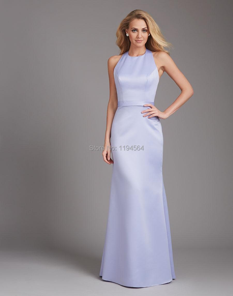 Modest High Neck Bridesmaid Dresses Lilac Satin Vestido De Festa Formal Party Gown Halter Low Back BB251(China (Mainland))