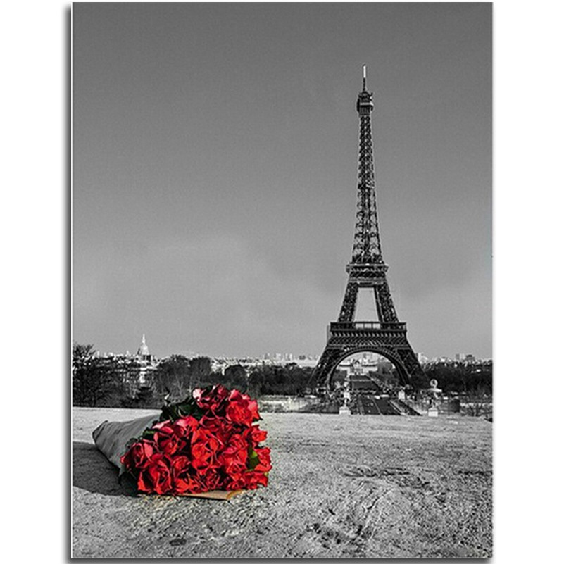 Eiffel Tower Diamond embroidery Landscape Roses 5D Diy Kit Set For Embroidery Stitch Foamiran Picture Of Diamond Mosaic Painting(China (Mainland))