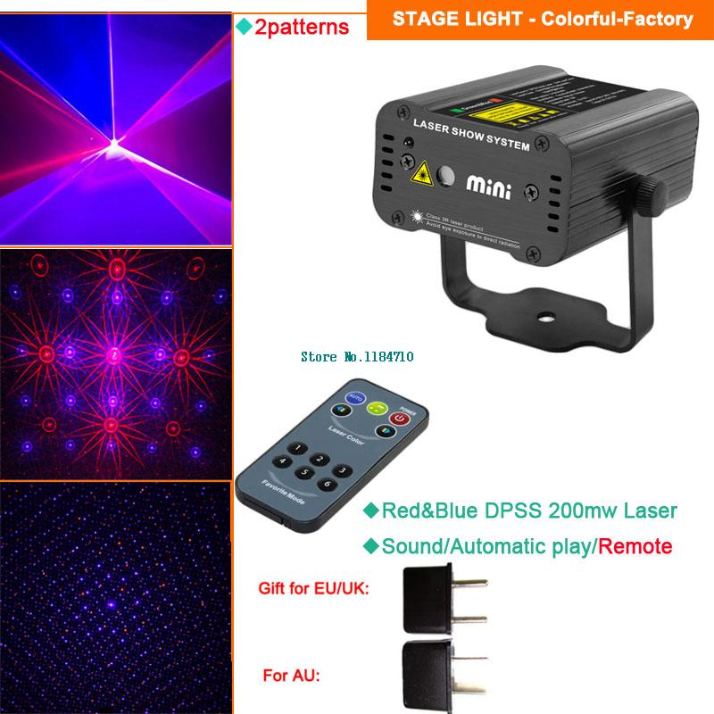 Red Blue 2in1 Multi-pattern Laser projector Efeect lighting light DJ Xmas Dance disco home Party bar stage Lights show b173<br><br>Aliexpress