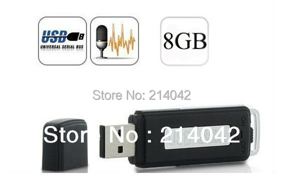 High Quality 128K bps 2 in 1 Mini 8GB USB Digital Audio Voice Recorder Dictaphone Flash Drive Disk WAV Format Free Shipping(China (Mainland))
