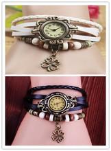 Envío libre – la mejor calidad de cuero Vintage relojes de pulsera reloj pulsera ala lucky una clover Pandent reloj Retro