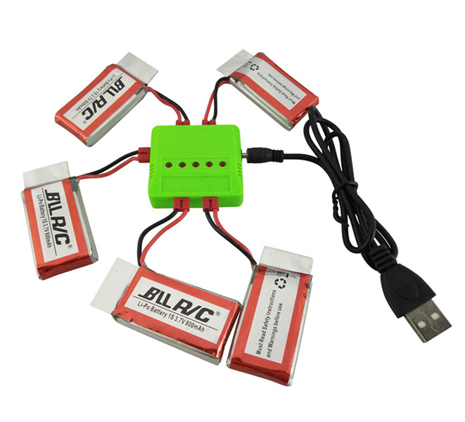 BLLRC new model aircraft parts 5PCS 3.7V 800mah with charger 5 and 1 SYMA X5HW X5HC helicopter parts free shipping(China (Mainland))