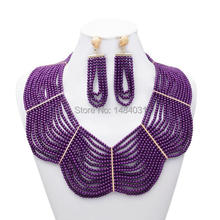 Free Shipping New design Fashion Nigerian Wedding African Beads Jewelry Set  Crystal Necklace And Earrings(China (Mainland))