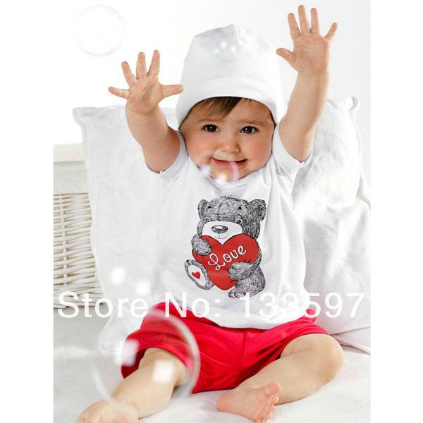 Baby Kids T-shirt Girls Short Sleeve Top+Pants Heart Bear Outfit 2 pcs Clothes set