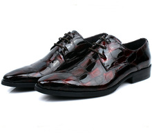Fashion black/ wine red mens dress shoes genuine leather oxfords business shoes mens wedding shoes free shipping(China (Mainland))