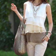 2015 New Summer Sleeveless Spaghetti Strap Casual Tops Sexy Double Layer Chiffon Women Blouse Shirts