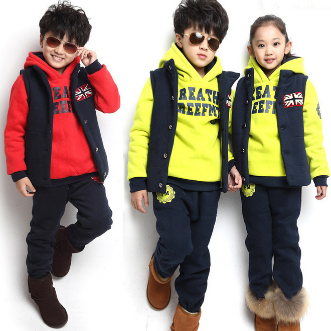 New Arrival 2014 Autumn Winter Children's Kids Clothing Baby Boy/girls Sports Suit Sweater Coat & pants 3 Pcs Clothing Sets(China (Mainland))