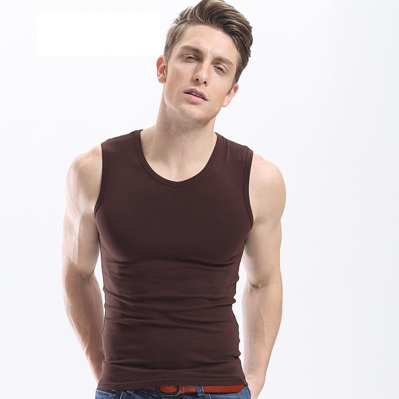 Men Sexy Solid Cotton Soft Tank Tops V Neck Slim Wide