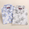 Dioufond Floral Vintage Cotton Linen Shirts Women Summer Loose Casual Blouse For Women Long Sleeve Turn