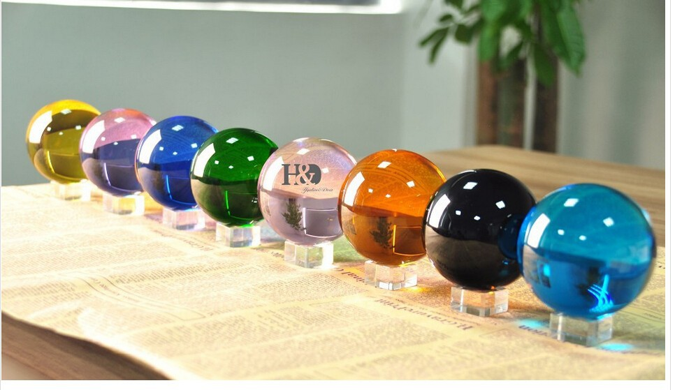 Здесь можно купить  40mm Rare Mixed Color Crystal Healing Ball Sphere With Removed Base Gifts Home Table Paperweights Set of 8  Дом и Сад