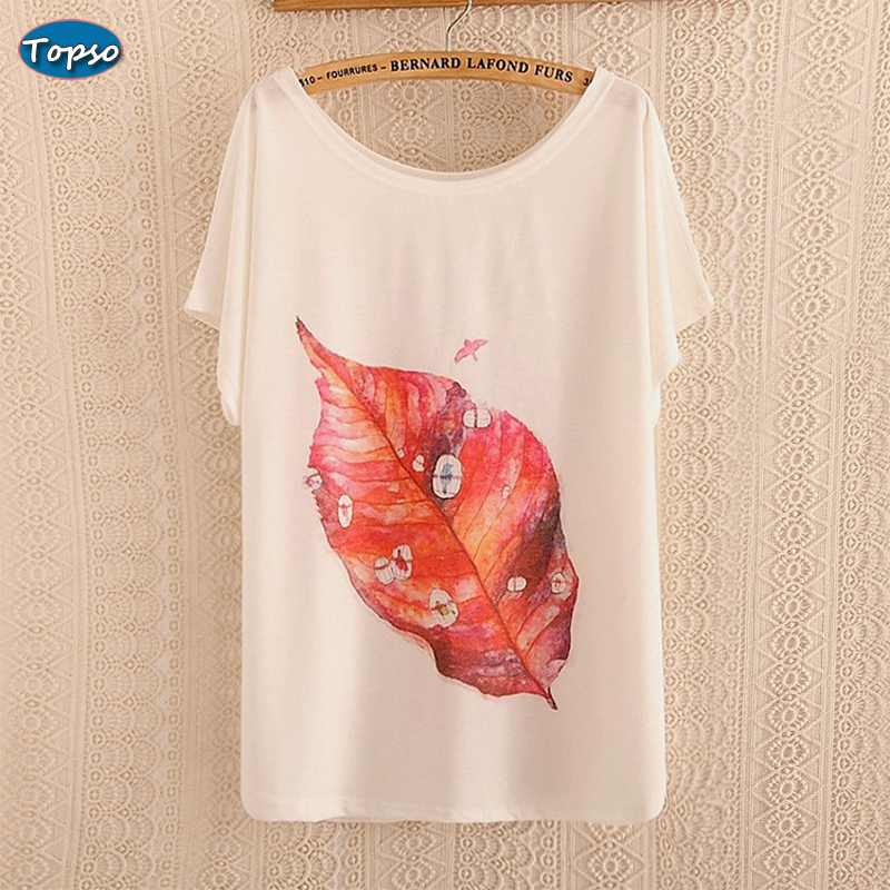 style Thin Plus Size Loose Batwing Sleeve Women's Short T-shirt Print Tees Womens t shirt Casual Summer Tops - Topso Fashion Shop store