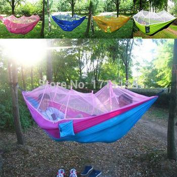Бесплатная доставка продажа 250 см * 130 см комаров спящая гамак / гамак палатка парашют ткань мягкая портативный отдых на природе гамак