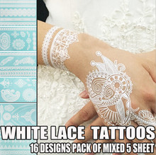 1sheet 2015 fashion beauty HENNA White Lace Tattoos stickers  waterproof Temporary Tattoo High quality W Series Summer style(China (Mainland))