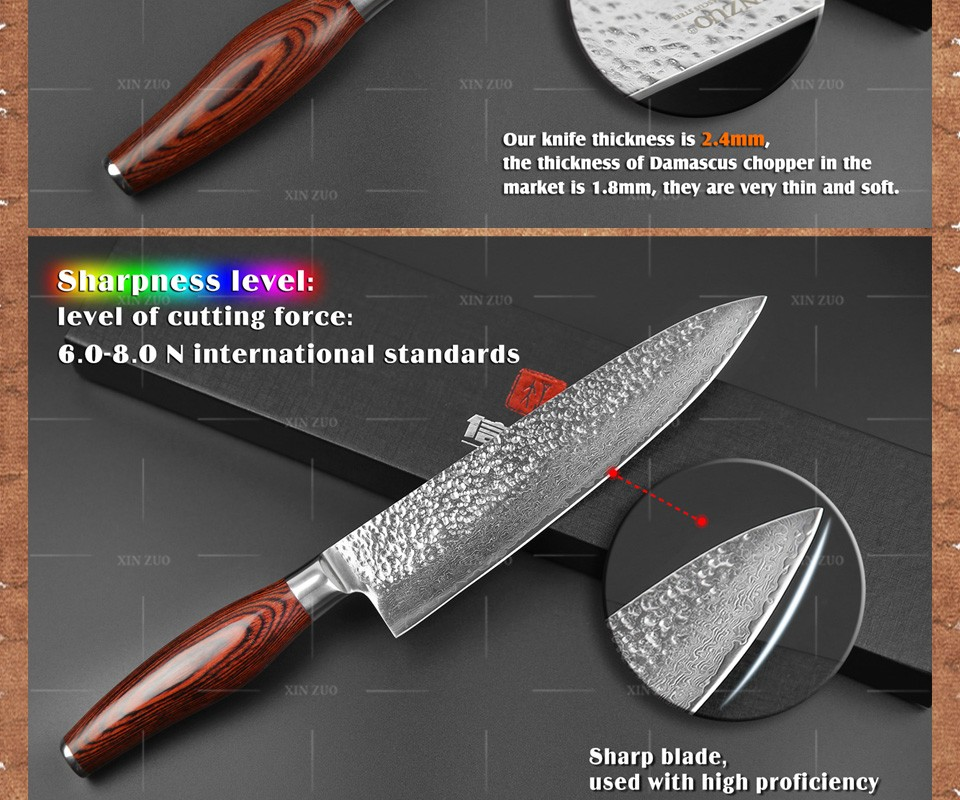 Buy XINZUO 2 pcs kitchen knife set Japanese VG10 73 layer Damascus kitchen knife set chef utility knife hammer striae free shipping cheap