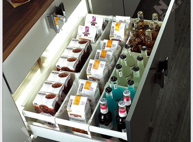Nomi track buffer drawer slide damper riding pumping glass cabinet slide rails black and white silent star