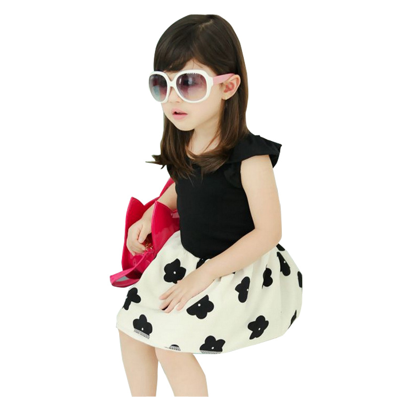 New Arrival Summer Girls tutu dresses baby children's Princess Dress girls on the idea of two flower Dot Butterfly dress(China (Mainland))